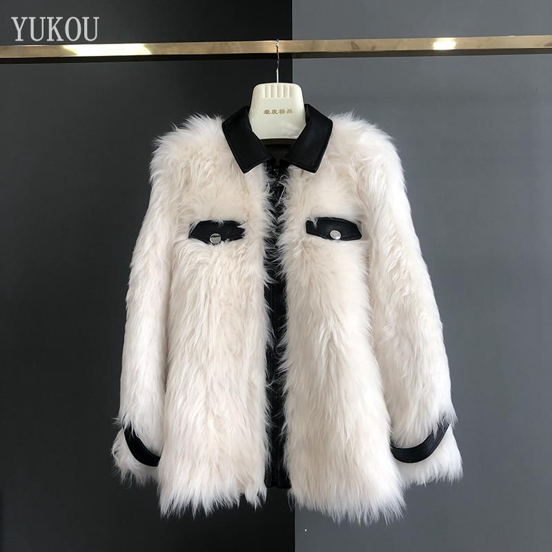 Blanc Fourrure Outwear D'hiver Chaud Mode En Laine Robe Double Mérinos Femmes Mouton Épais De 2018 face Peau Et Moutons QdCshrtx