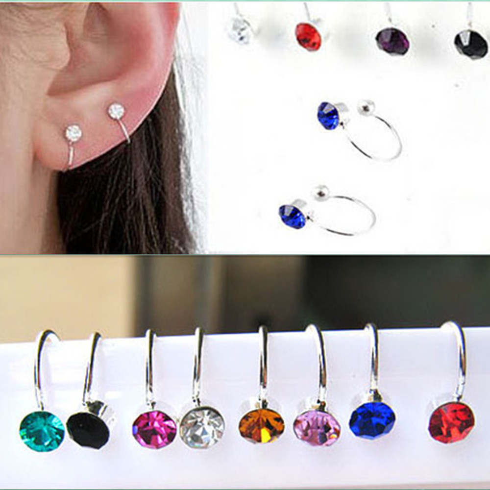 1pair Women Girl Clip On U Body Crystal Rhinestone Earring Stainless Steel Ear Cuff Stud Ear Jewelry Gift