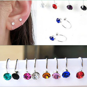 1pair Women Girl Clip On U Body Crystal Rhinestone Earring Stainless Steel Ear Cuff Stud Ear Jewelry Gift(China)