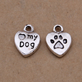Yage 13*10mm Love My Dog Charms,10pcs Alloy Metal Heart Charm Pendant for Bracelet,footprint charms