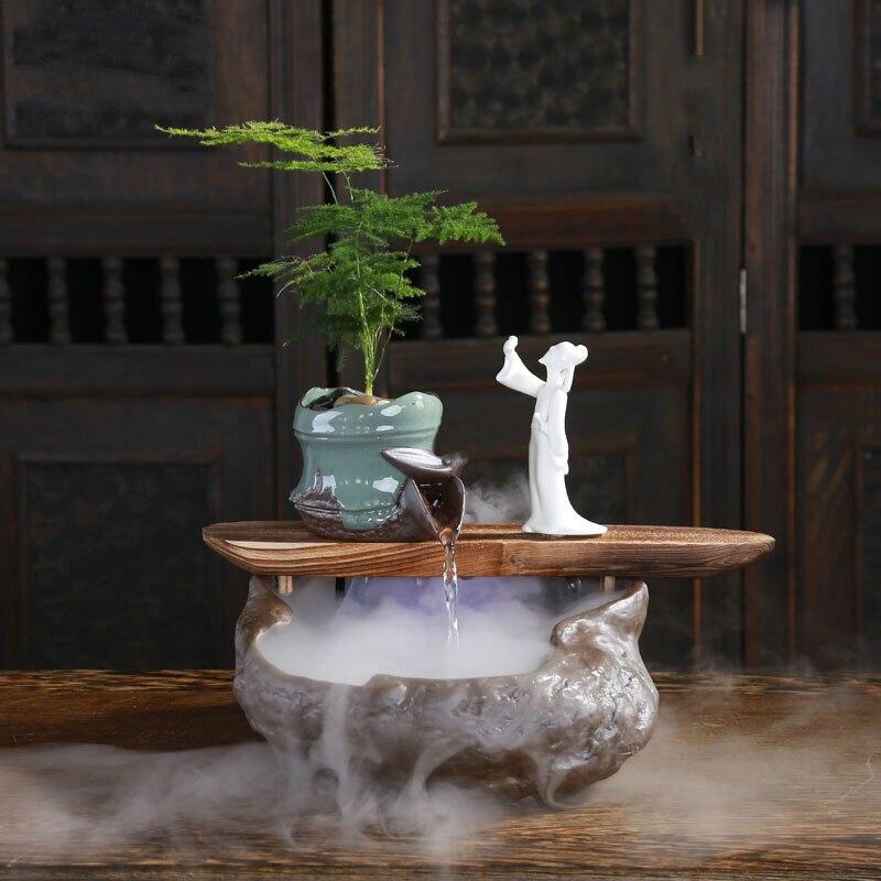 Творческий китайский стиль фонтан фэн шуй lucky гостиная увлажнитель воздуха для офиса домашние мягкие украшения ремесла украшения
