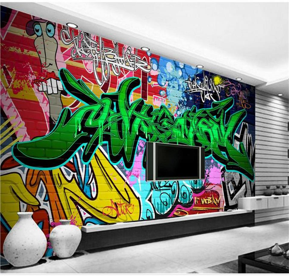 Graffiti wall art bedroom - Custom 3d Photo Wallpaper Mural Kids Room Non Woven Wall Sticker Color Graffiti Photo Bedroom