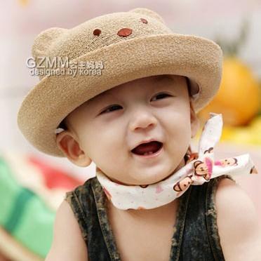 Spring and summer cartoon bear style hat bucket hats baby boy .