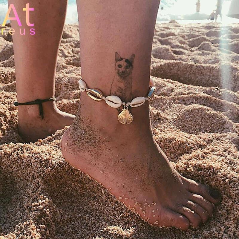 Vintage Gold Color Anklet Women Natural Conch shell sequin Geometric Bracelet Charm Bohemian Ankle Bracelet Boho Foot Jewelry
