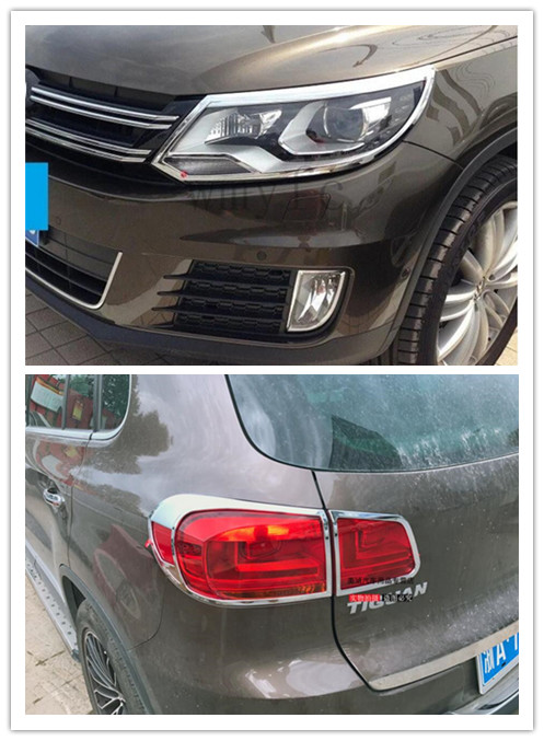 цена на Fit for vw Volkswagen Tiguan 2014 2015 2016 ABS Chrome Front Rear Headlight Tail Light Lamp Cover Trim