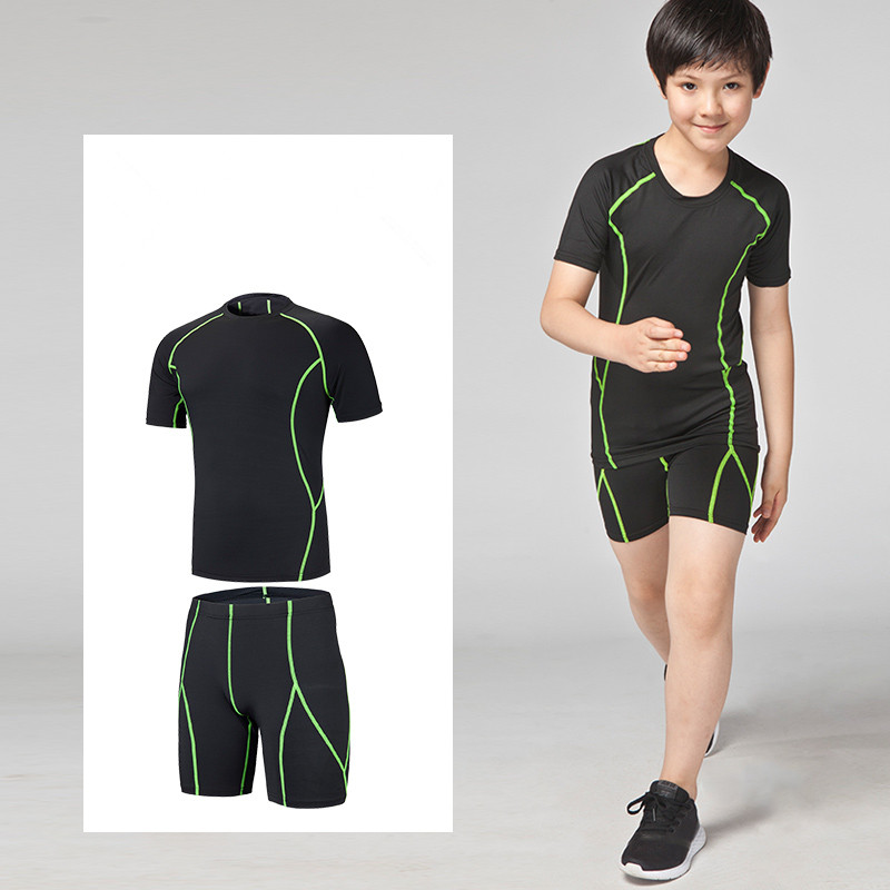 0c18d39ad Kids Running Sets Boys Girls Compression base layer t shirt Basketball  football Soccer set Sports Fitness
