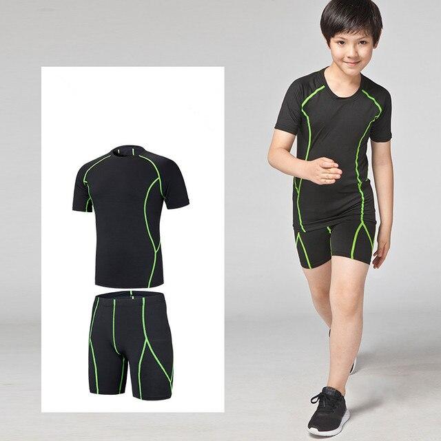 72f403a44b Kids Running Sets Boys Girls Compression base layer t shirt Basketball  football Soccer set Sports Fitness Shorts Tennis Shirts