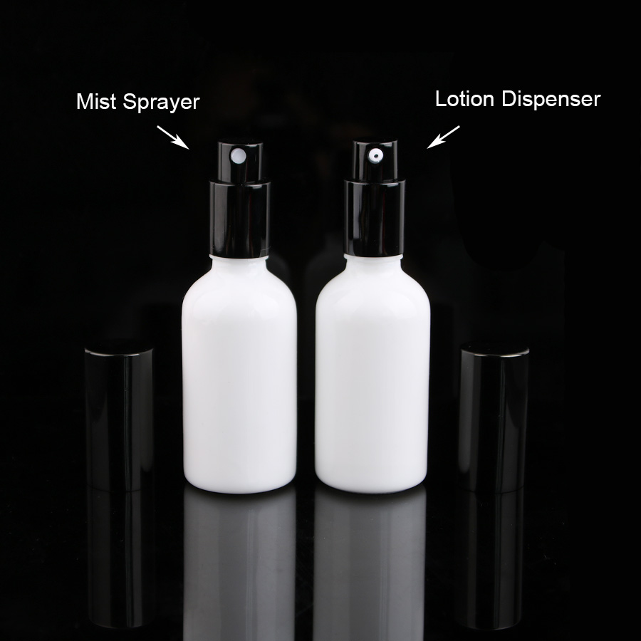 9pcs 5/3 oz 50ml white Glass Perfume Essential Oil Atomizer toner serum Bottle with Black Dispenser fine mist sprayer 1000mg 100 pcs fish oil bottle for health capsules omega 3 dha epa with free shipping