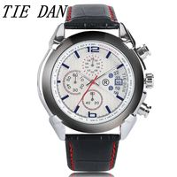 TIEDAN Quartz Wristwatch Males Business Genuine Leather Band Casual Watches Chronograph Function Men S Relojes Date