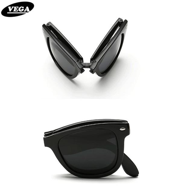 2b3524620e VEGA Polarized Folding Sunglasses Men Women Foldable Sunglasses Female Male  Hipster Folding Glasses Plastic Frame 140