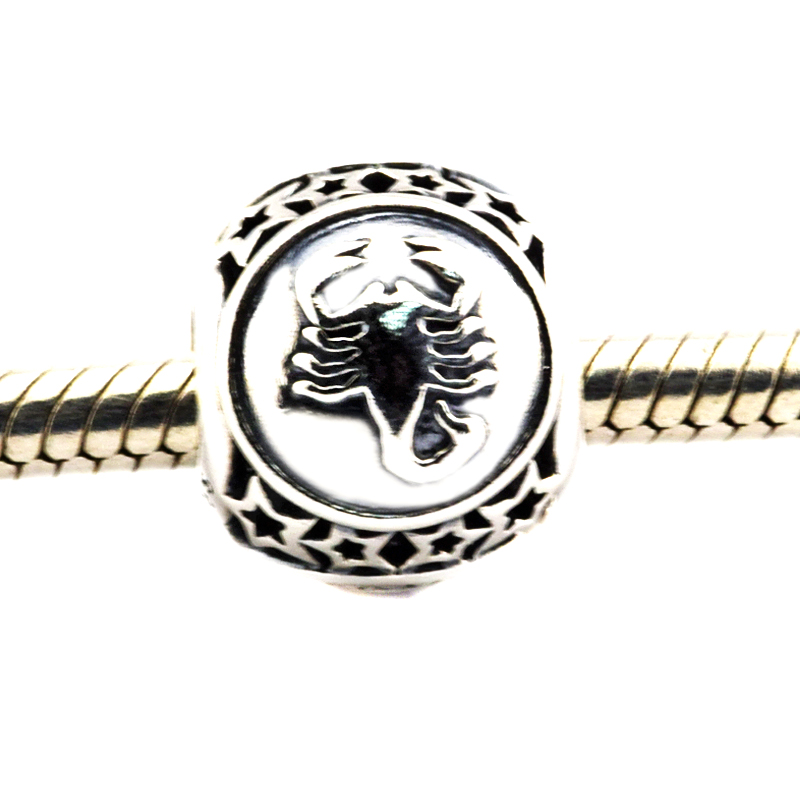 Fits For Pandora Bracelets Scorpio Star Sign Charms 100% 925 Sterling Silver Beads Free Shipping