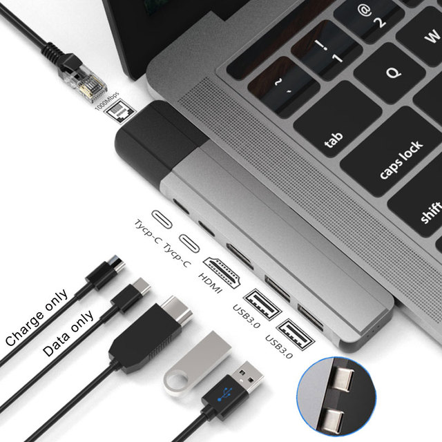 EASYA Thunderbolt 3 Adapter USB Type C Hub naar HDMI Rj45 1000 M USB C Dock met PD Gegevens USB 3.0 port voor MacBook Pro/Air 2018