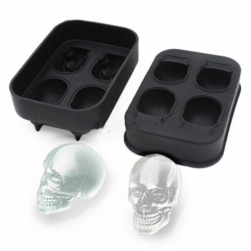 Creative Home 4 Dimensional Skull Ice Tray Cake Jelly Chocolate Mold Party Kitchen Silicone Baking Tools in Statues Sculptures from Home Garden