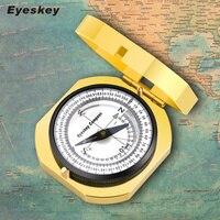 Eyeskey Navigation Metal Golden Compass Handheld Lightweight Hunting Camping Geological Pocket Compass