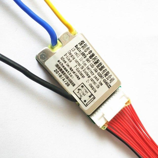 고품질 13s bms 48v 리튬 배터리 bms 충전 전압 54.6 15a bms pcm