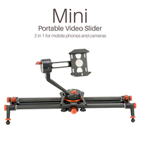2 in 1 Mini Portable Phone Slider with Phone Holder Mount Camera Video Track Dolly Slider Rail System for Nikon Canon DSLR
