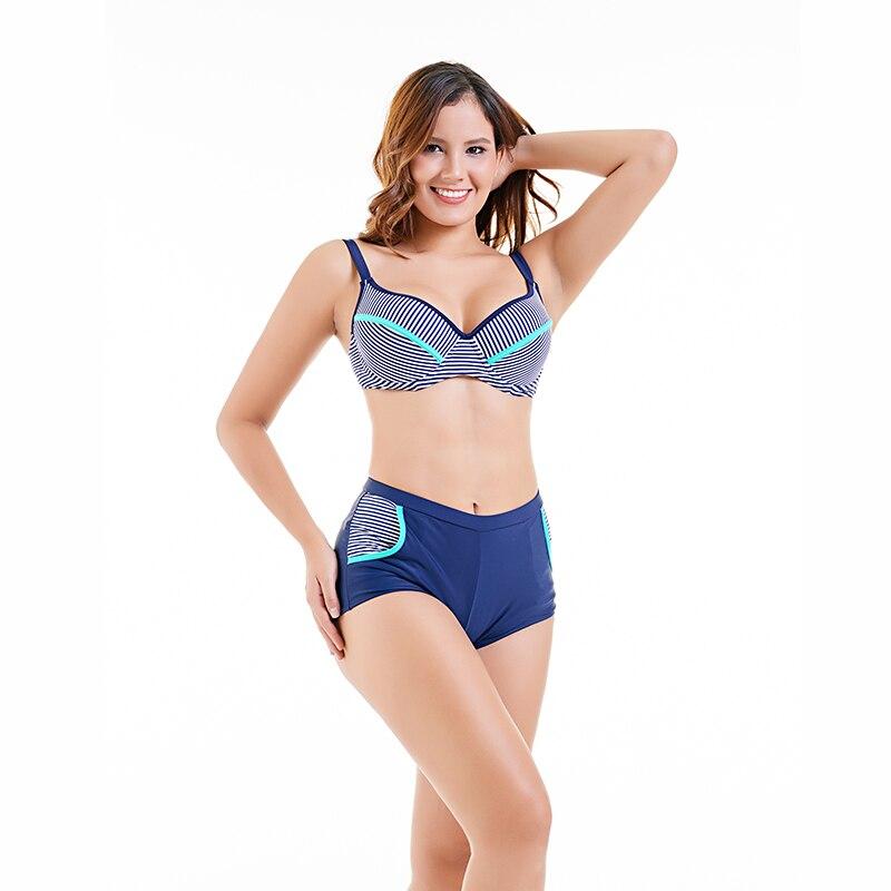 2018 femmes Bikini ensemble grande taille maillots de bain maillot de bain femme plage porter Push up rayure brésilienne Bikini taille haute maillot de bain