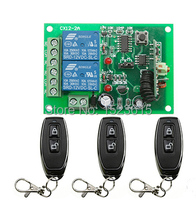 New DC12V 2CH 10A RF Wireless Remote Control Switch teleswitch With 3pcs metal Transmitter For Learning code
