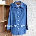 Mujeres Denim Blue largas camisas sport del algodón flojo del dobladillo de la blusa Tops tipo Thin sm