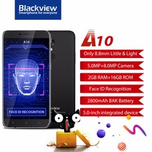 Original BLACKVIEW A10 Smartphone Android 7.0 Quad core MTK6580A 1,3 GHz 2 GB RAM 16 GB ROM 5,0 zoll HD 3G Handy 2800 mAh FM