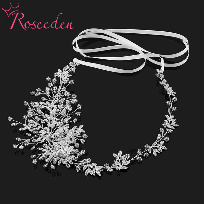 Wedding Hair Accessories handmade headpiece Charming crystal Flower Headband Bride Tiaras Floral Hair Jewelry RE746 mi happiness red bride wedding hair tiaras gorgeous hair jewelry hanfu costume hair accessory