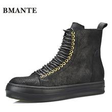 Брендовые черные ботинки из натуральной кожи; брендовые Модные мужские повседневные туфли с высоким верхом; Качественная обувь; высокие мужские ботинки на шнуровке