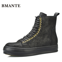 Real Leather Brand Black Booties Cow Suede Brand Fashion Male Casual Hightop Shoes Tall Footwear High