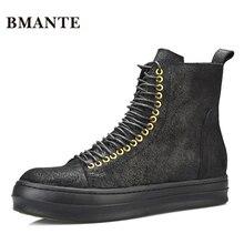 Из натуральной кожи брендовые Черные ботильоны из коровьей замши модный бренд мужской Повседневное Hightop обувь высокие обувь с высоким берцем; ботинки на шнуровке для мужчин