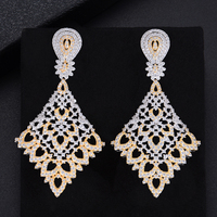 62MM Trendy Geometry Rhombus Hollow Drop Pierced Full Cubic Zirconia Dangle Earings Women Wedding Bridal Jewelry