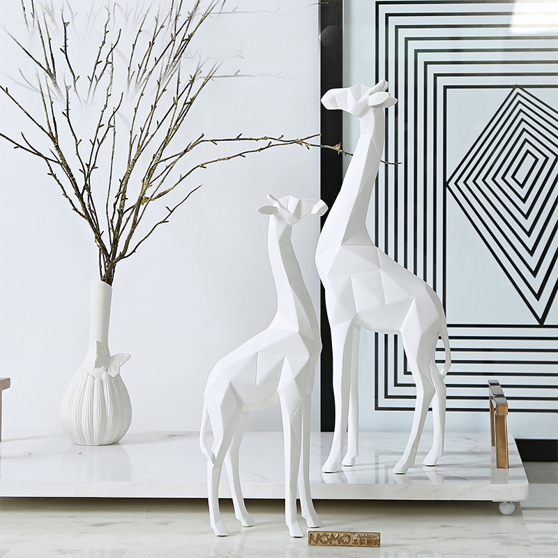 Marble Decoration: Nordic Deer Statue Marble Sculpture Figurine Miniture Home