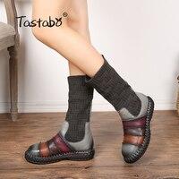 Tastabo/женские ботинки из натуральной кожи, осенняя женская обувь ручной работы, мягкая обувь на плоской подошве, повседневная женская обувь