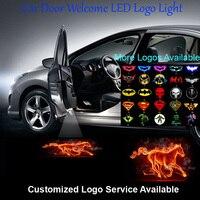 2x Flaming At Logo Araba Kapı Hoşgeldiniz Adım Nezaket Lazer Projektör Hayalet Gölge Puddle LED Kablolu Işık # C0513
