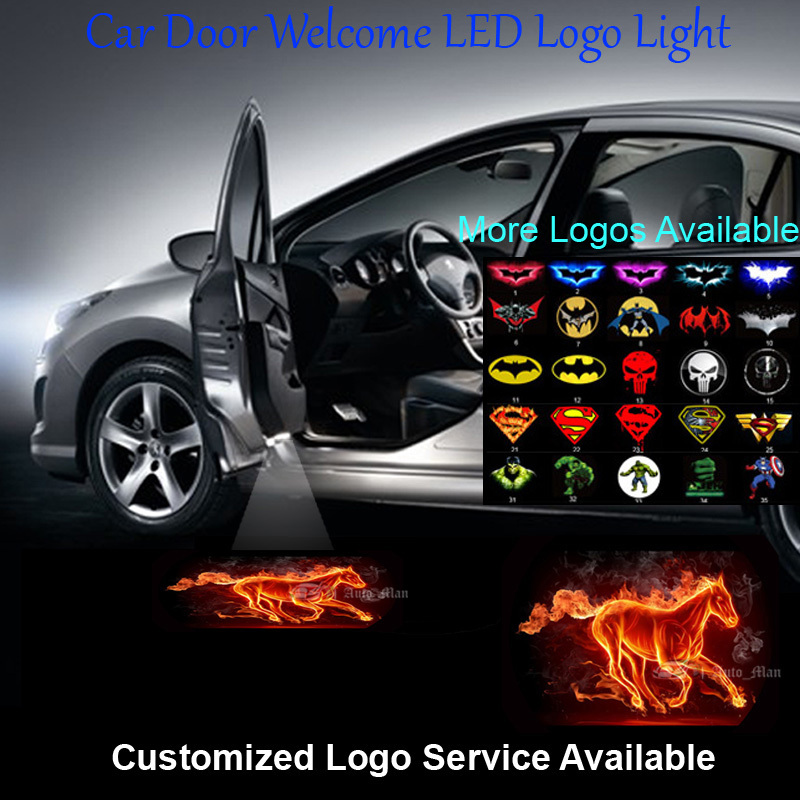 2x flaming horse logo car door welcome step courtesy laser