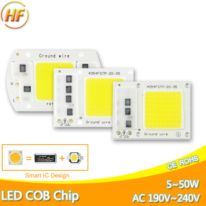 DIY High Lumen No Need Driver Integrated COB LED Chip 220V 50W 30W 20W 10W 5W Smart IC Replace Spotlight Flood Light Lamp Bulb 2015 h1 led cree high lumen 30w 3000lm 6000k no need fan