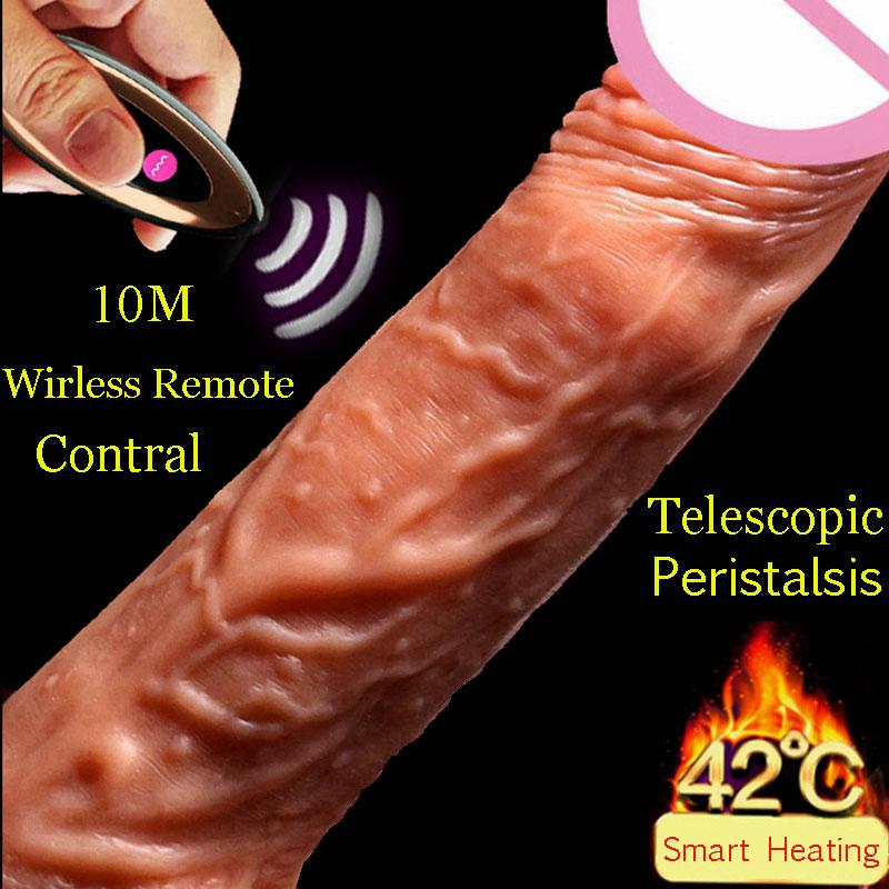 GaGu Realistic Penis Super Huge Big Dildo Remote Vibrator Telescopic Vibrators Realistic Dildos Vibrator Heating Skin Feeling