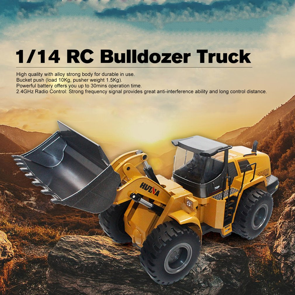 HUINA игрушки 1583 1/14 10CH Сплав RC бульдозер грузовик с фронтальным грузчиком грузовик Инженерная строительная машина игрушка RTR для мальчиков