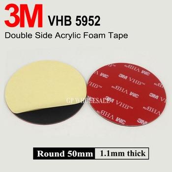 Cinta adhesiva de espuma acrílica de doble cara de 50mm x 1,1mm redonda 3M VHB 5952, color negro, Envío Gratis