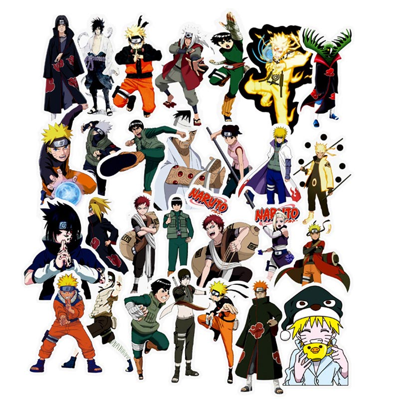 49pcs/set Waterproof Japan Anime Naruto Sticker For Laptop Car Trunk Skateboard Guitar Fridge Backpack Decal Toy Stickers Orders Are Welcome. Stickers