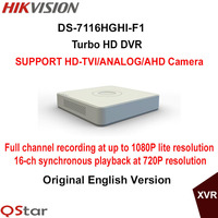 Hikvision Original English Version DS-7116HGHI-F1 16ch 720P Turbo HD DVR Support HD-TVI/analog/AHD camera DHL Free Shipping