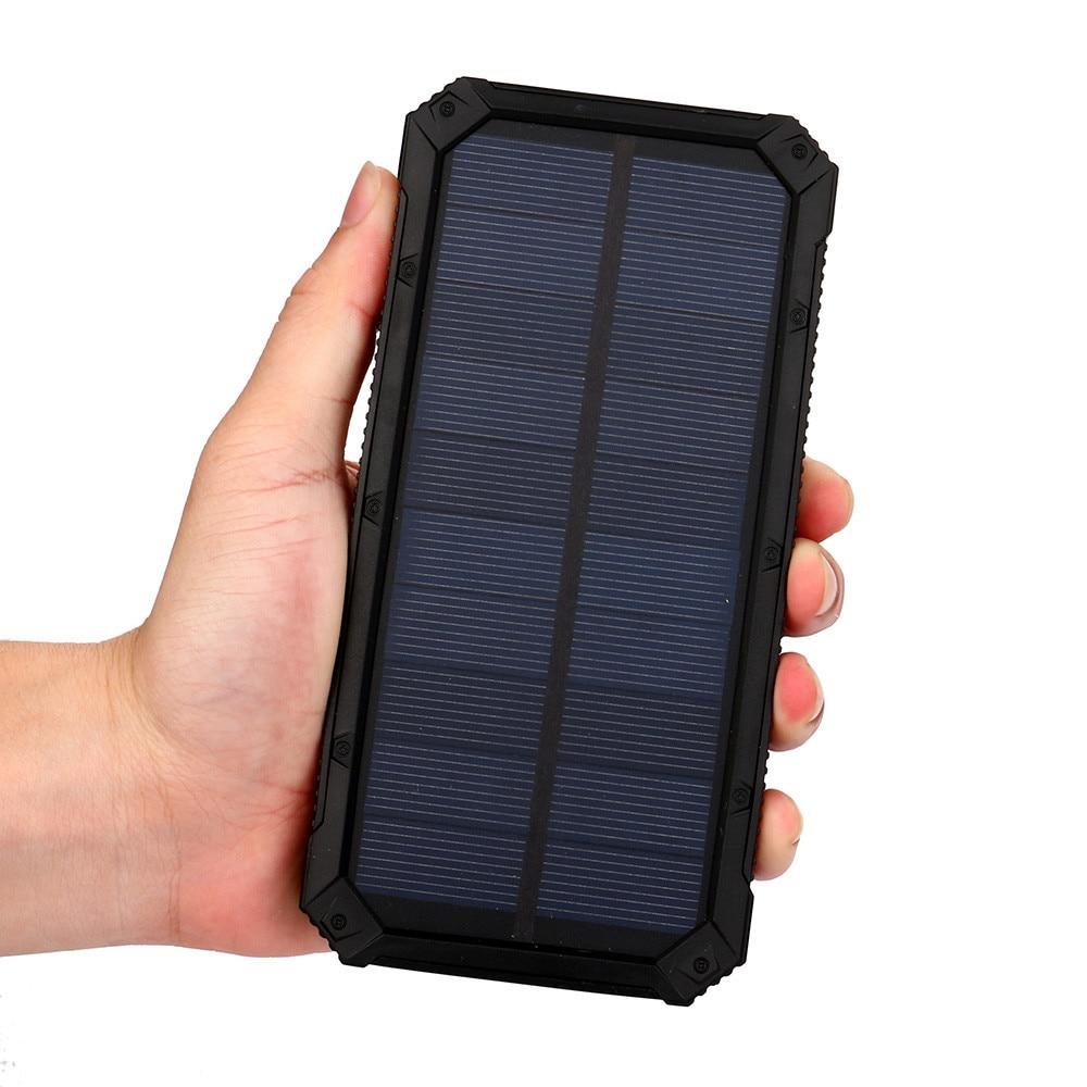 1pc Black Color Portable External 20000mAh Dual USB Solar Battery Charger Power Bank For Phone Mobile Phones стоимость