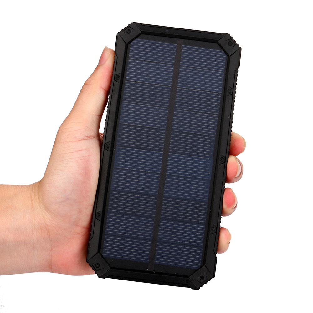 1pc Black Color Portable External 20000mAh Dual USB Solar Battery Charger Power Bank For Phone Mobile Phones