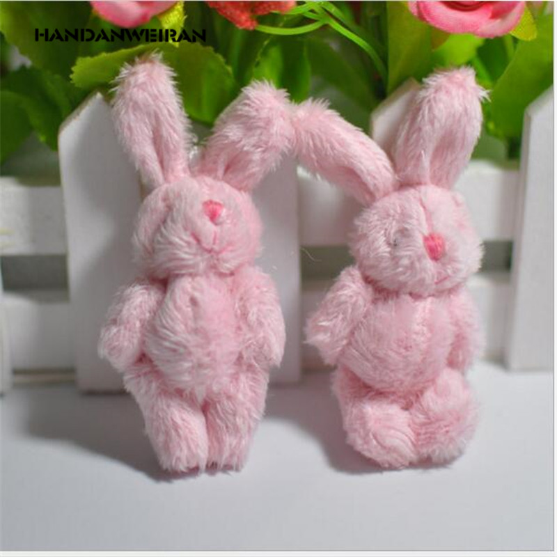 4pcs/Lots 6cm Plush Toy Joint Rabbit Doll Long Haired Rabbit Rabbit DIY Handmade Jewelry, Pendant Material 4 Color