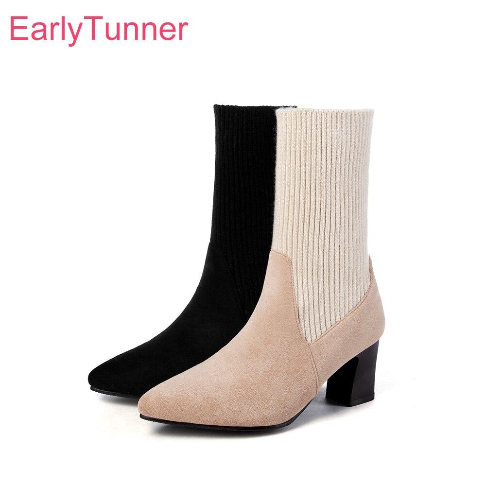 1a2d3fd3b Новые брендовые Зимние красивые женские сапоги до середины икры черного и  бежевого цвета женская обувь на