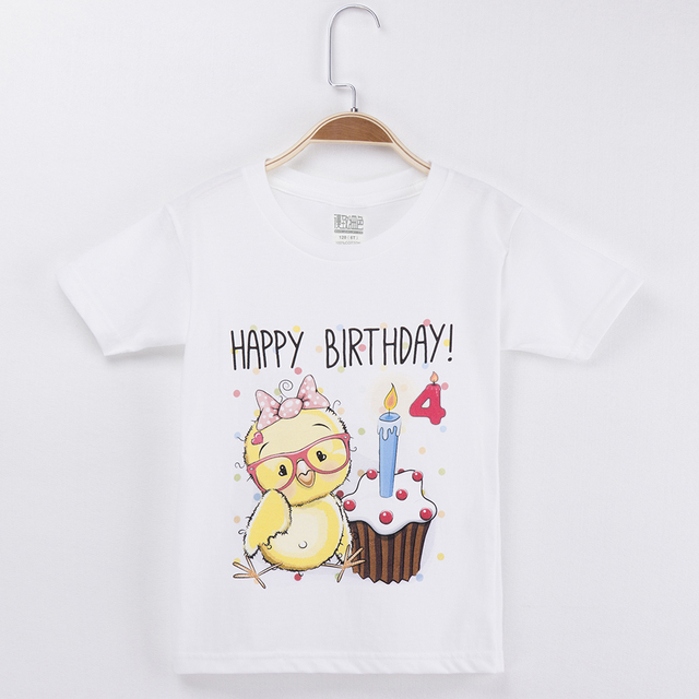 2019 Sale Items Children T Shirts Cotton White Chick Costume Birthday Tshirt Child Clothing Baby Boy