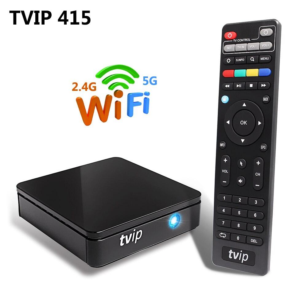 TVIP 415 Linux Smart TV Box Amlogic Quad Core 2 4G 5G Dual Band WiFi Support