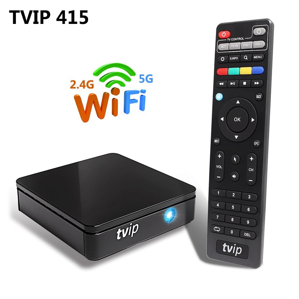 TVIP 415 Linux Smart TV Box Amlogic Quad Core 2.4G 5G Dual Band WiFi Support Stalker M3U IPTV Portal H.265 1080P HD Set Top Box
