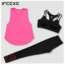 Women Three Pieces Set Yoga Set Outdoor Fitness Sexy Lady Yoga Bra T-shirts Pants Sports Suit Workout Running Clothes drop ship(China)