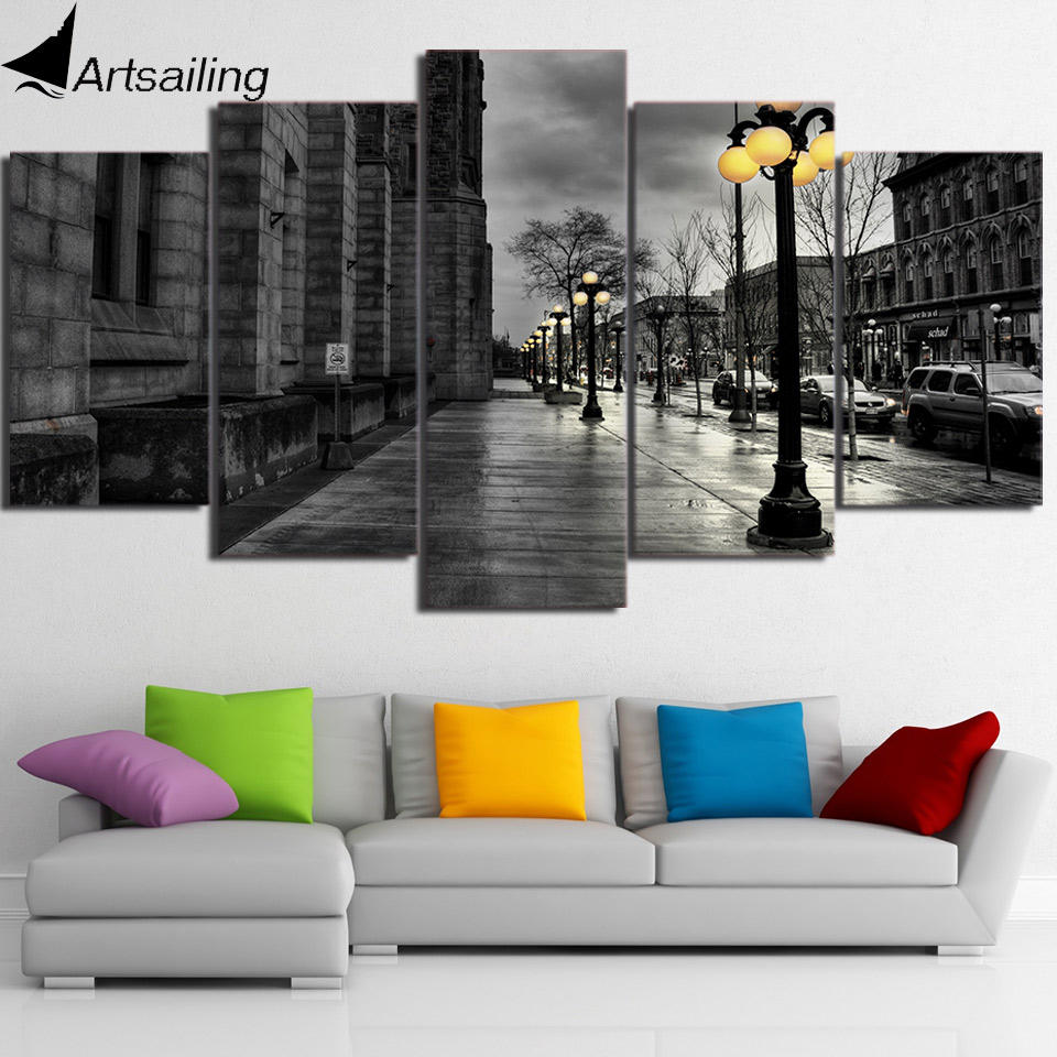 HD Printed 5 Piece Canvas Art Street View London Grey