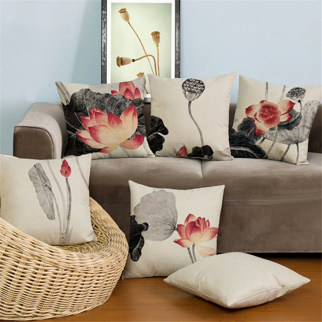 buy popular f082f 01dd6 US $3.99 9% OFF|Retro Nordic Floral Flower Universal Art Decorative Office  Chair Seat Cushion Covers Home Decor Seat Sofa Throw Pillow Case e831-in ...