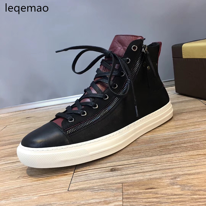 Hot Sale New Spring Autumn Fashion Sneakers Brand Men High Quality Lace-up Genuine Leather Man Black Flats Casual Shoes 38-44 spring autumn fashion men high top shoes genuine leather breathable casual shoes male loafers youth sneakers flats 3a